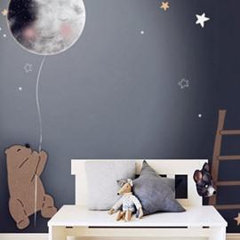 Waterproof Non-woven Fabrics Environment Friendly Cartoon Bear And Balloon Kid Room Wall Mural