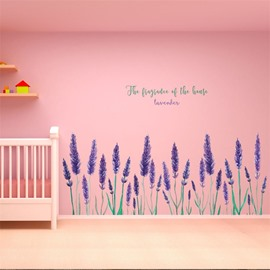 Lavender Pattern Environment Friendly PVC Waterproof Living Room Kids Room Wall Sticker