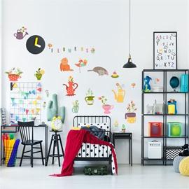 Cartoon Animals And Plants Pattern PVC Waterproof Home Decor Living Room Kids Room Wall Sticker