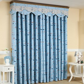 60 blue cute cartoon cats design noise reducing curtain