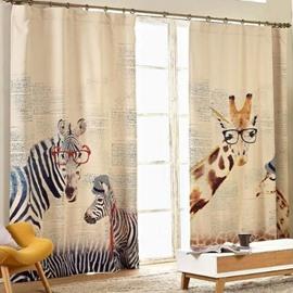 Wonderful Giraffe Zebra Design Kid's Room Light Blocking Curtain