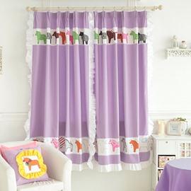 Purple Little Horses Design Kid's Room Custom Curtain