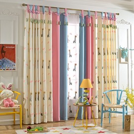 Delicate Embroidery Giraffe Pattern Kids Curtain