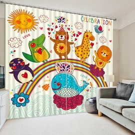 Cute Cartoon Animals Standing on the Rainbow Print 3D Blackout Curtain