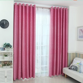 Five Pure Color Little Stars Decor Polyester Noise Reducing Shading Curtain