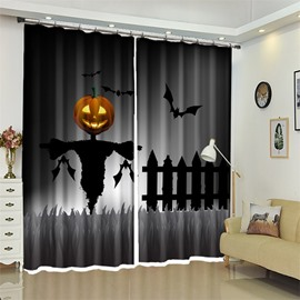 Creative Style Cartoon Pumpkin And Scarecrow 3D Polyester Halloween Scene Curtain for Kids Room/Living Room