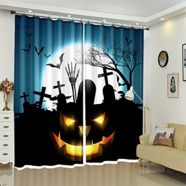 Cartoon Pumpkin And Tomb 3D Polyester Halloween Scene Curtain for Kids Room/Living Room