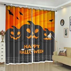3D Polyester Orange And Black Cartoon Pumpkin Halloween Scene Curtain for Kids Room/Living Room
