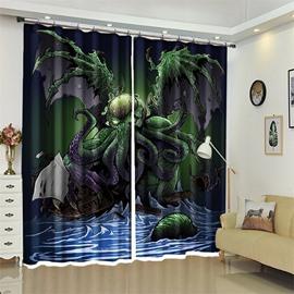 Creative Monster Halloween Scene 3D Polyester Custom Curtain for Kids Room/Living Room
