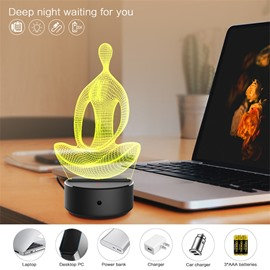 7 Colors Remote Control Yoga Position 3D Light LED Table Lamp Night Light/Lamp