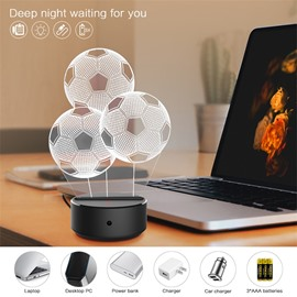 7 Colors Remote Control Three Football 3D Light LED Table Lamp Night Light/Lamp