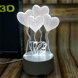 7 Color Changing 3D LED Heart Ballon Table Lamp USB Night Light/Lamp