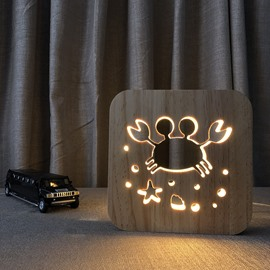 Natural Wooden Creative Crab Pattern Design Light for Kids