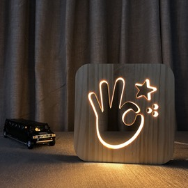 Natural Wooden Creative OK Pattern Design Light for Kids