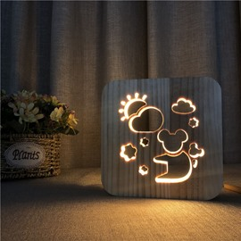 Natural Wooden Creative Koala Pattern Design Light for Kids