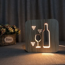 Natural Wooden Creative Wine Glass Bottle Pattern Design Light for Kids