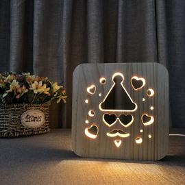 Natural Wooden Creative Santa Claus Pattern Design Light for Kids