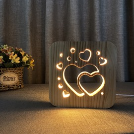 Creative Natural Wooden LOVE Pattern Design Light for Kids