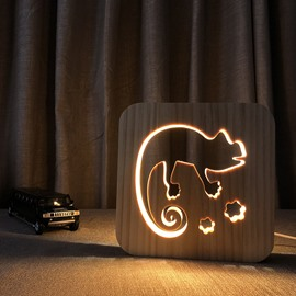 Natural Wooden Creative Chameleon Pattern Design Light for Kids