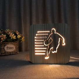 Natural Wooden Creative Playing basketball Pattern Design Light for Kids