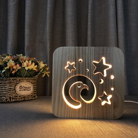 Natural Wooden Creative Eagle Head Pattern Design Light for Kids