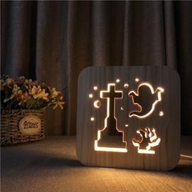 Natural Wooden Creative Ghost Pattern Design Light for Kids