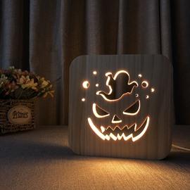 Natural Wooden Creative Halloween Pumpkin Pattern Design Light for Kids