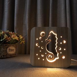 Creative Natural Wooden Dinosaur Pattern Light for Kids