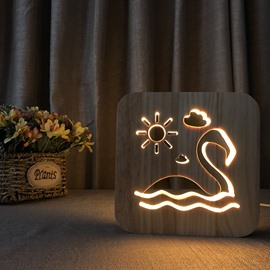 Creative Natural Wooden Swan Pattern Light for Kids