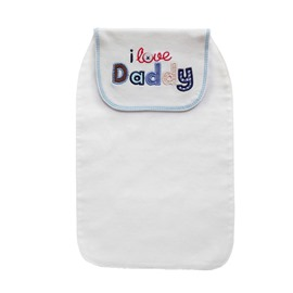8*13in I Love Daddy Printed Cotton White Baby Sweatband/Towel