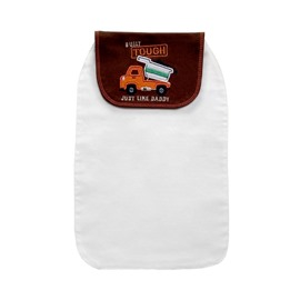 8*13in Truck Printed Cotton White Baby Sweatband/Towel