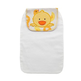 8*13in Yellow Chick Printed Cotton White Baby Sweatband/Towel