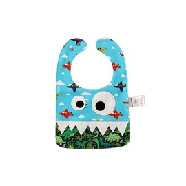 10.23*7.09in Eyes Decoration Planes Printed Cute Cotton Blue Baby Bib