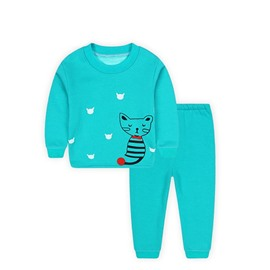 Lovely Cat Print Solid Color Kids Thickened Pajamas