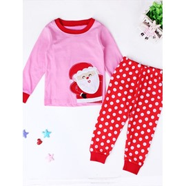 Pink Santa and Polka Dot Pattern Kids Pajamas