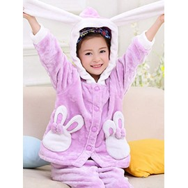 Lovely Rabbit Design Purple Flannel Kids Pajamas