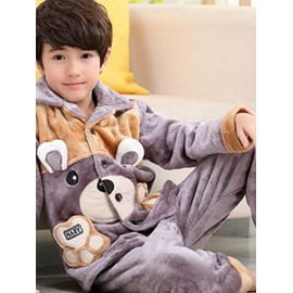Super Soft Bear Design Pocket Flannel Kids Pajamas
