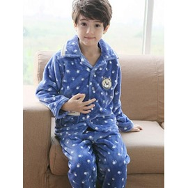 Super Soft Polka Dots Pattern Fluffy Flannel Kids Pajamas