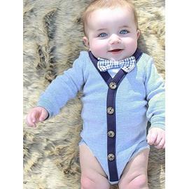 Buttons Decoration Cotton Light Blue 1-Piece Long Sleeve Bodysuit