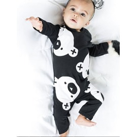 Bears Printed Cotton Black 1-Piece Long Sleeve Bodysuit