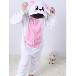 Little Rabbit Shaped Flannel White 1-Piece Kids Pajama