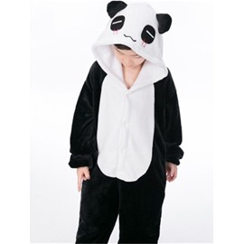 Panda Shaped Flannel Black and White 1-Piece Kids Pajama