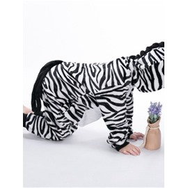 Zebra-Stripe Printed Flannel Black and White 1-Piece Kids Pajama