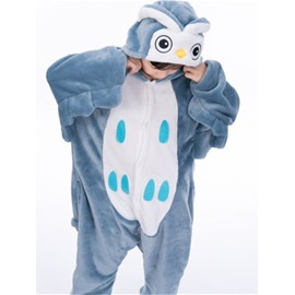 Little Blue Owl Shaped Flannel 1-Piece Kids Pajama