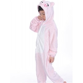 Pig Shaped Flannel Pink 1-Piece Kids Pajama