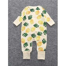 Yellow Pineapple Pattern Long Sleeve Cotton Material Zipper Infant Jumpsuit/ Baby Bodysuit