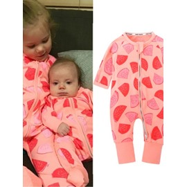 Long Sleeve Cotton Material Red Watermelon Pattern Zipper Infant Jumpsuit/ Baby Bodysuit