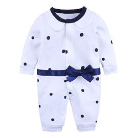 White Dot Pattern Long Sleeve Cotton Material Fastener Infant Jumpsuit/ Baby Bodysuit