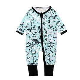 Long Sleeve Covered Feet Green Cotton Zipper Infant Jumpsuit/Bodysuit