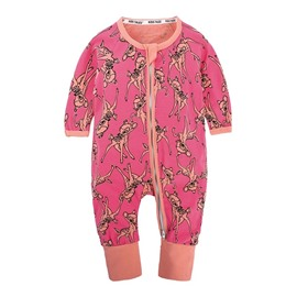 Deer Pattern Long Sleeve Covered Feet Cotton Zipper Infant Jumpsuit/Bodysuit